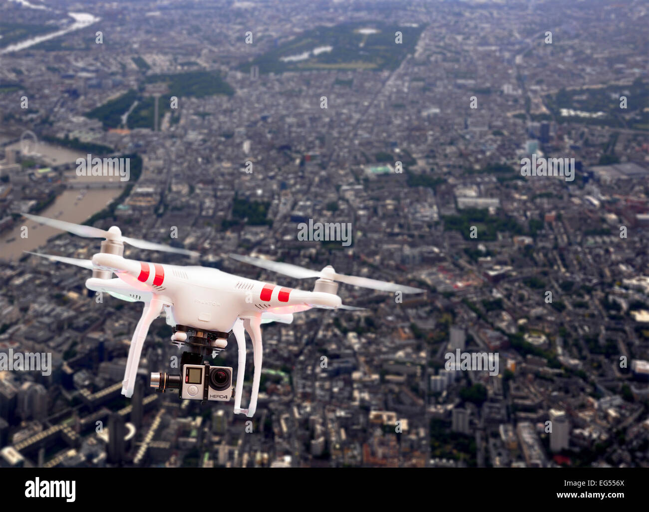 Non Military Quadcopter Or Drone Flying Over London England