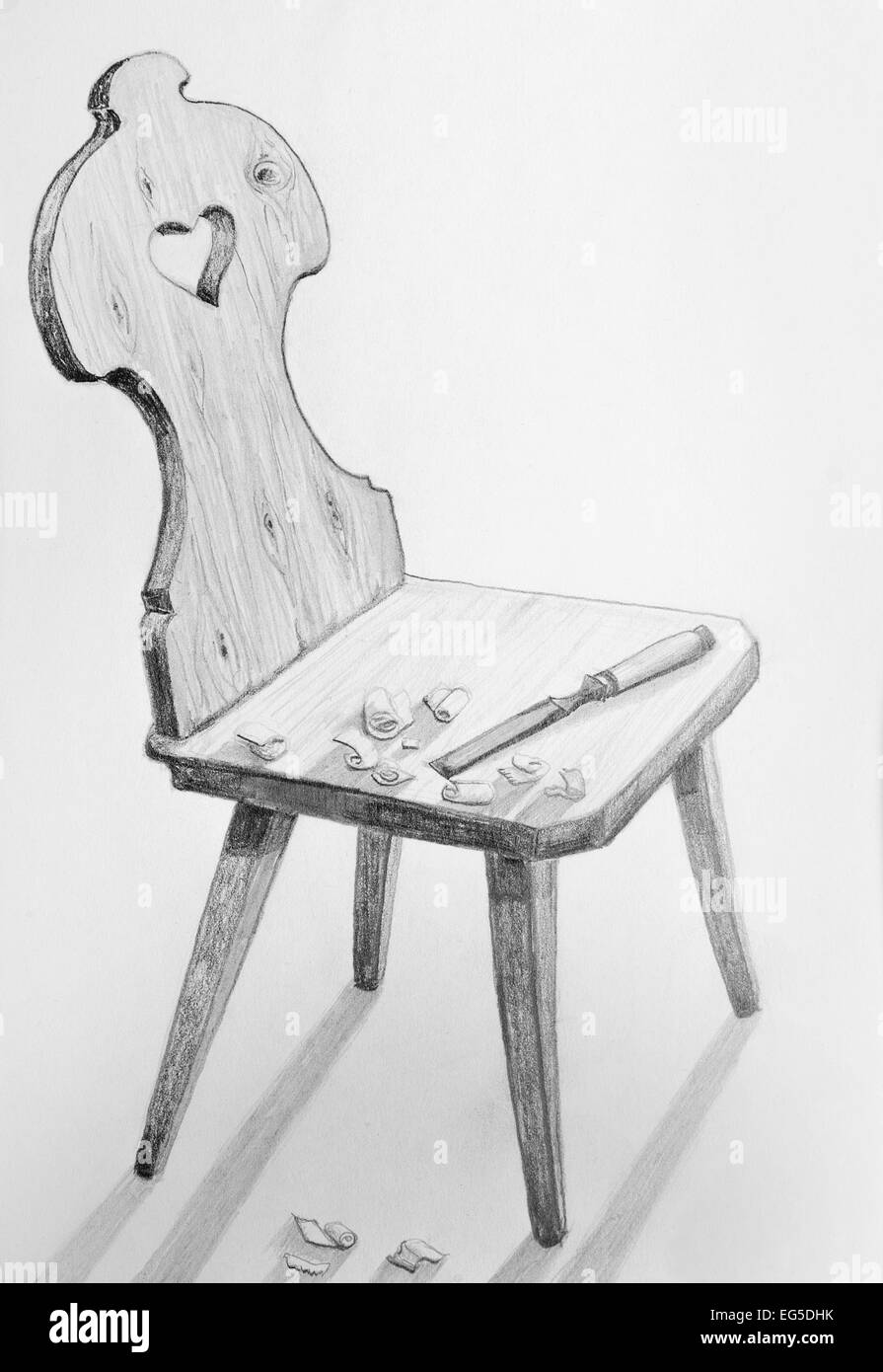 Carpentered wooden chair with a carving tool and wood chips gray