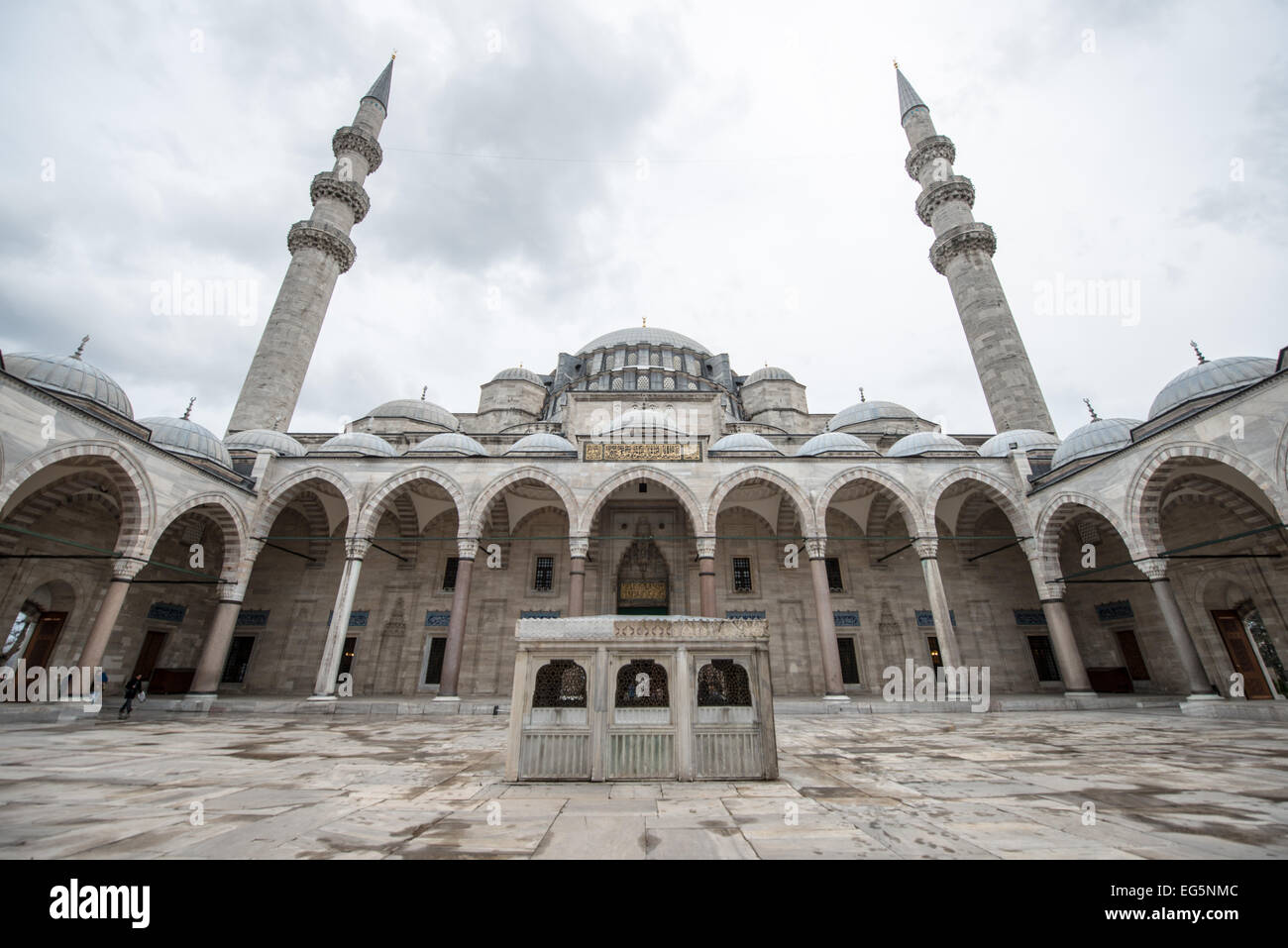 The courtyard of Suleymaniye Mosque in Istanbul. Dedicated ...