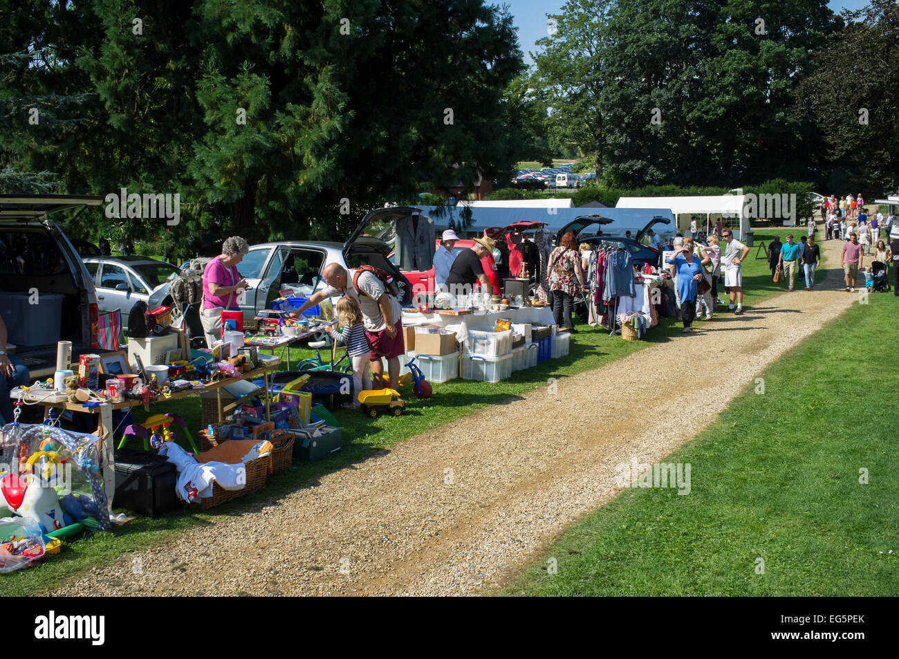 Car boot sale at an english summer fair stock image