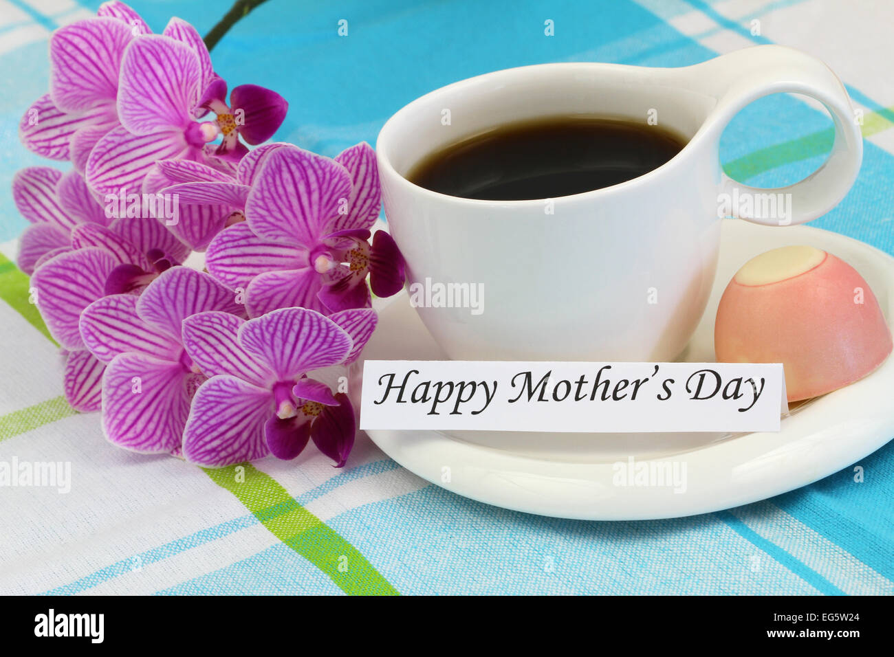 happy mother u0027s day card with pink orchid and cup of coffee stock