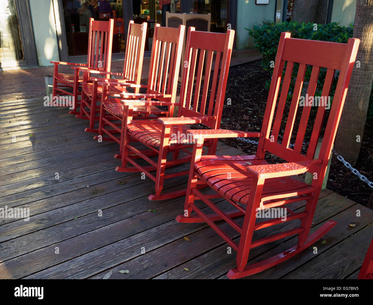 Red Rocking Chairs At Harbour Town, Hilton Head Island, South Carolina