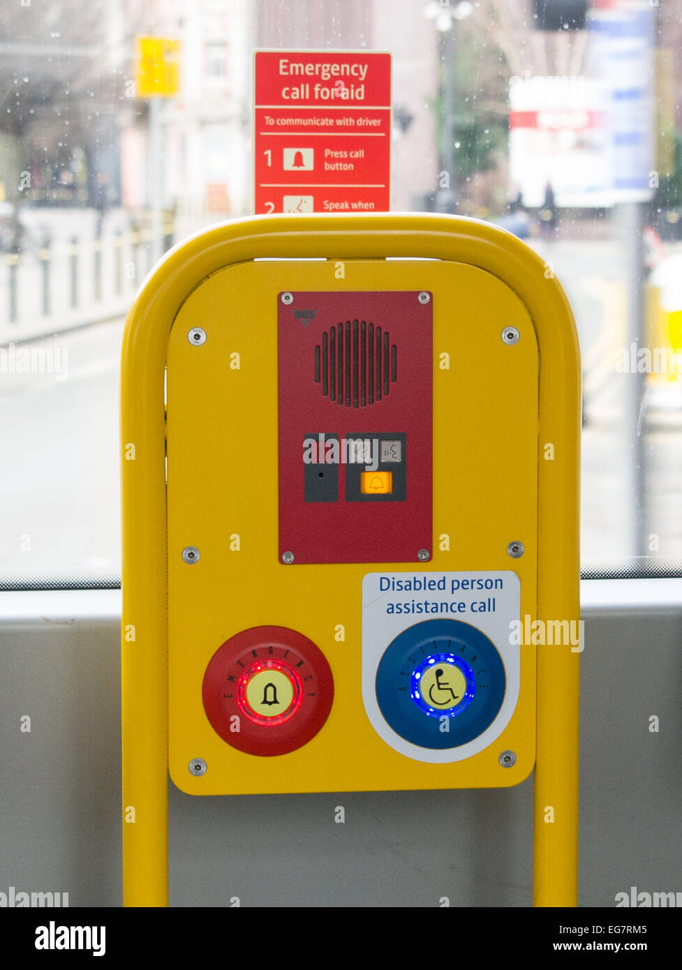 Disabled person assistance call module on metrolink trams manchester