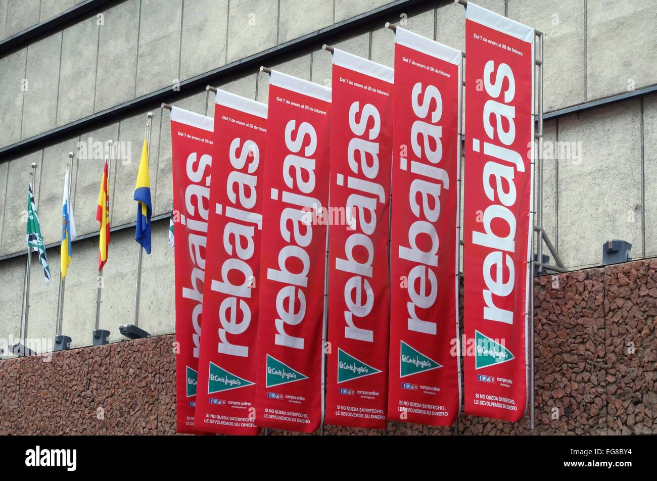 Sales banners outside el corte ingles department store - Showroom las palmas ...