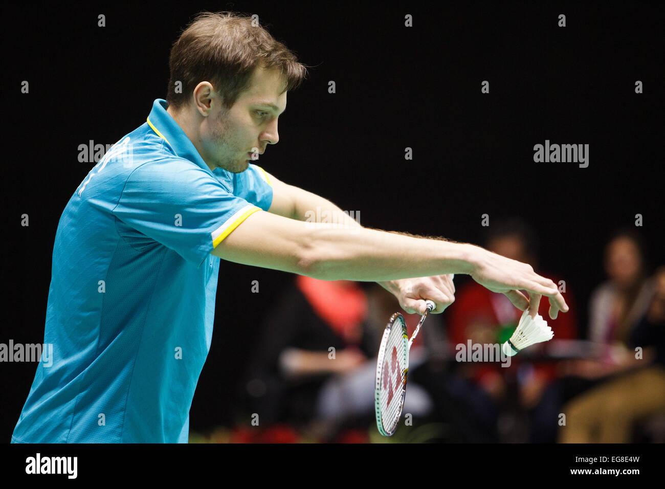 LEUVEN BELGIUM 14 02 2015 Badminton players Ivan Sozonov Stock