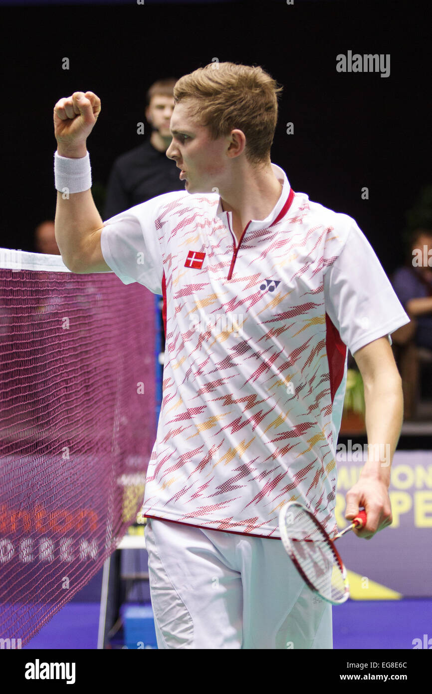 LEUVEN BELGIUM 14 02 2015 Badminton player Viktor Axelsen Stock