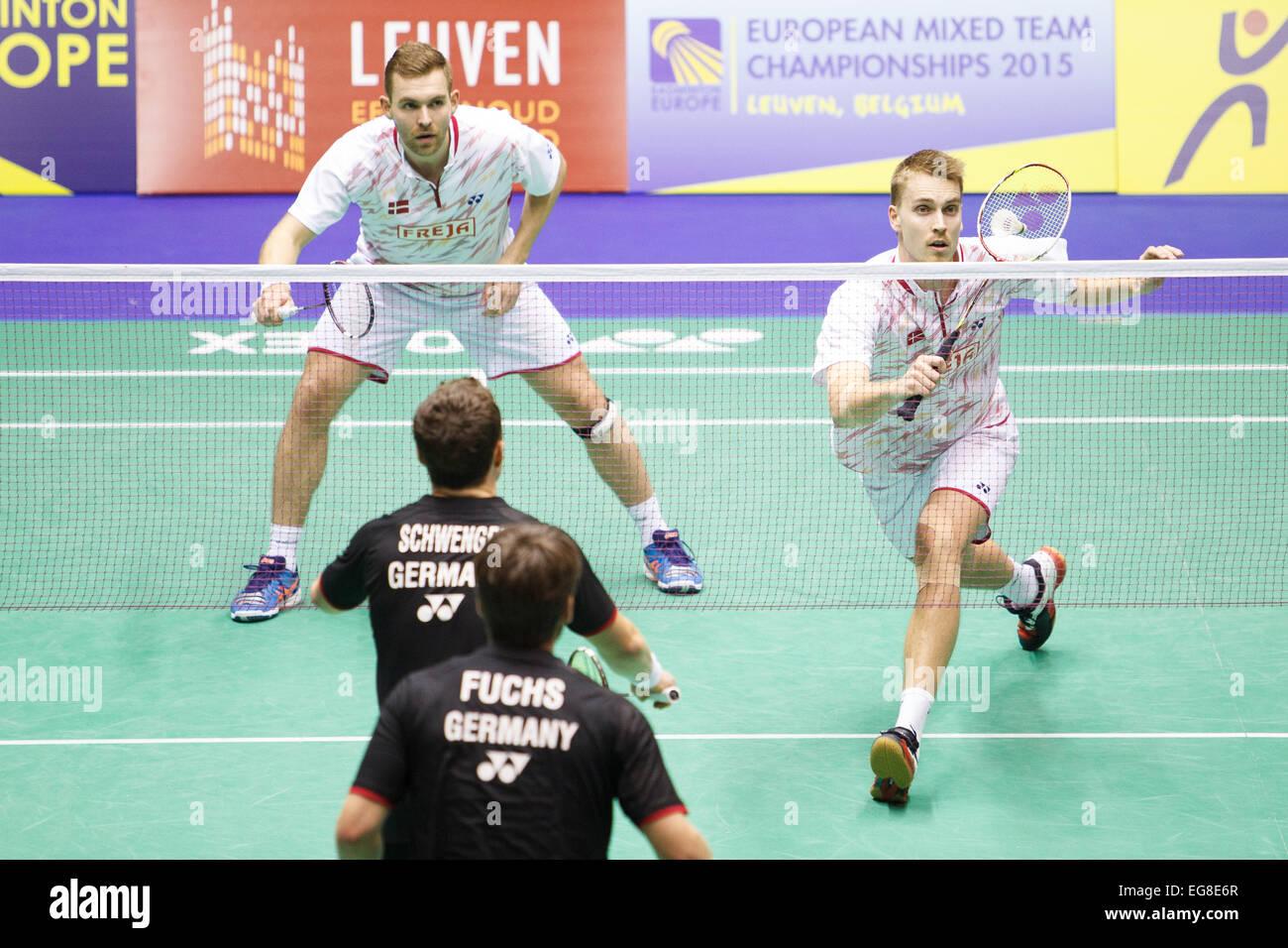 LEUVEN BELGIUM 14 02 2015 Badminton players Mads Conrad
