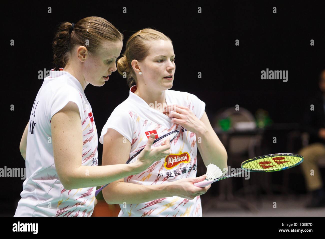LEUVEN BELGIUM 14 02 2015 Badminton players Kamilla Rytter Juhl