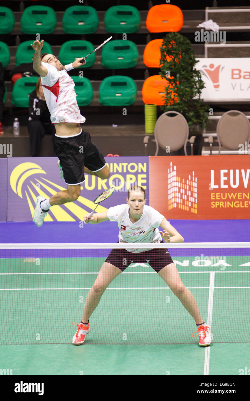 LEUVEN BELGIUM 13 02 2015 Badminton players Joachim Fischer