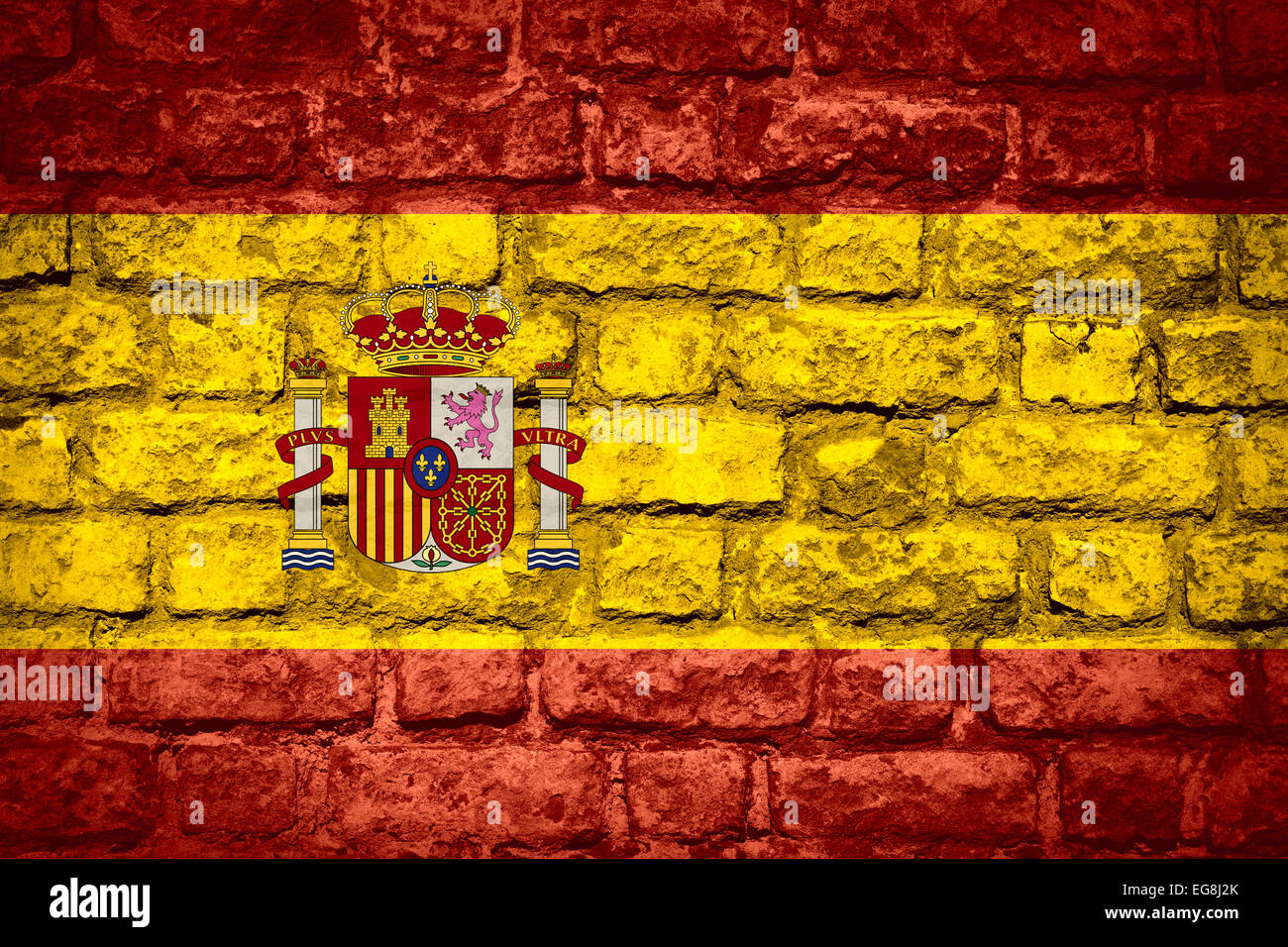 flag of spain or spanish banner on brick texture stock photo