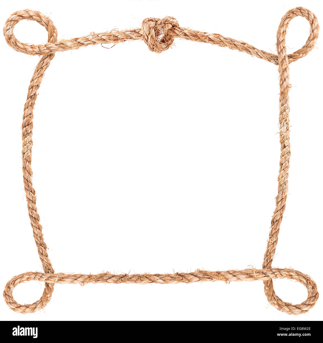 stock photo rope frame knot border isolated