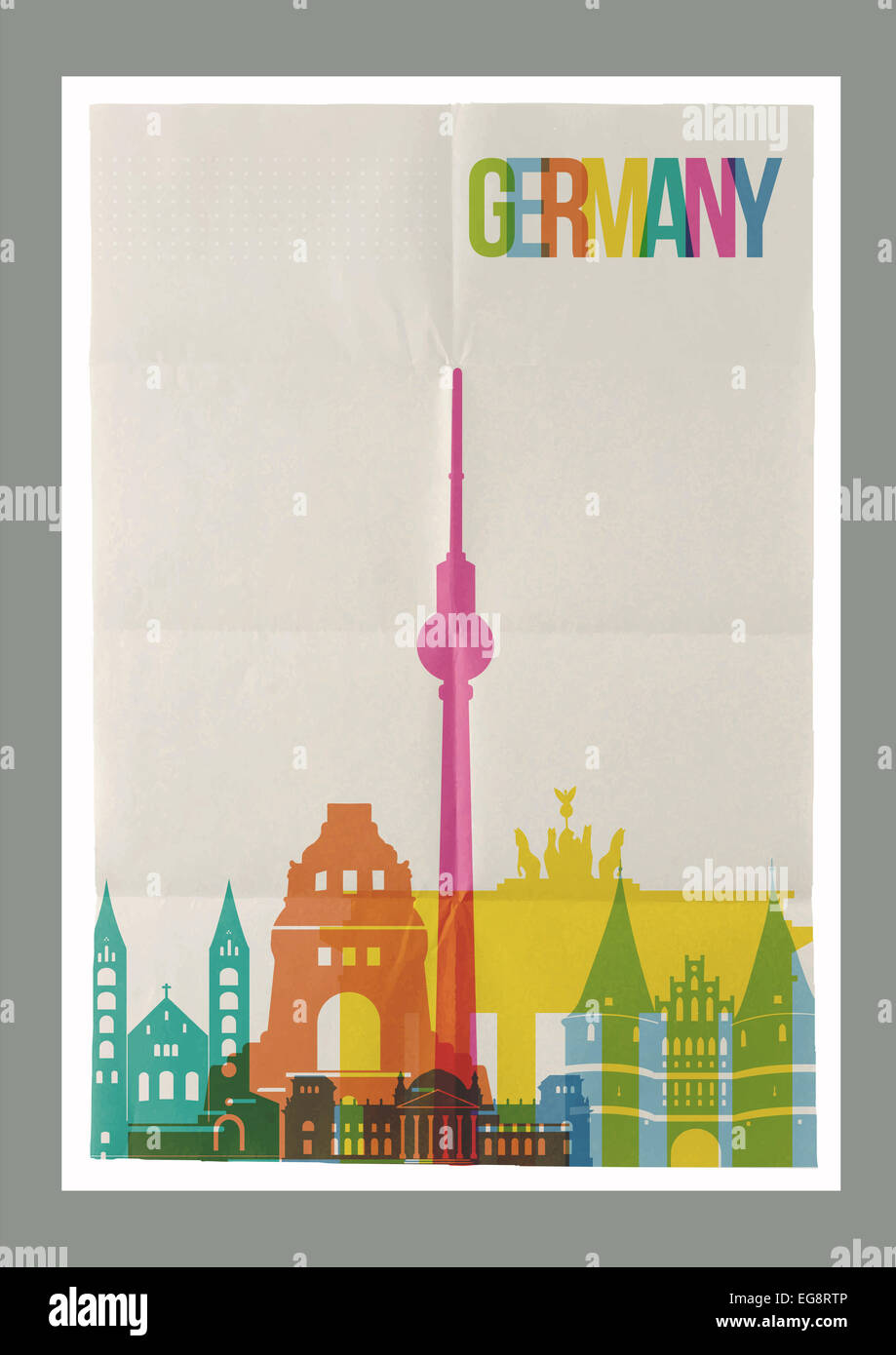 Poster design background - Stock Photo Travel Germany Famous Landmarks Skyline On Vintage Paper Sheet Poster Design Background Vector Organized In Layers For Easy Cre