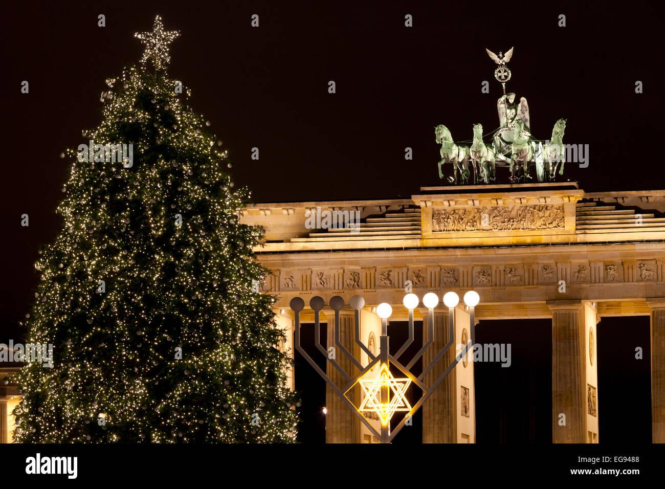 The Brandenburg Gate, Christmas Tree and Menorah, Berlin, Germany