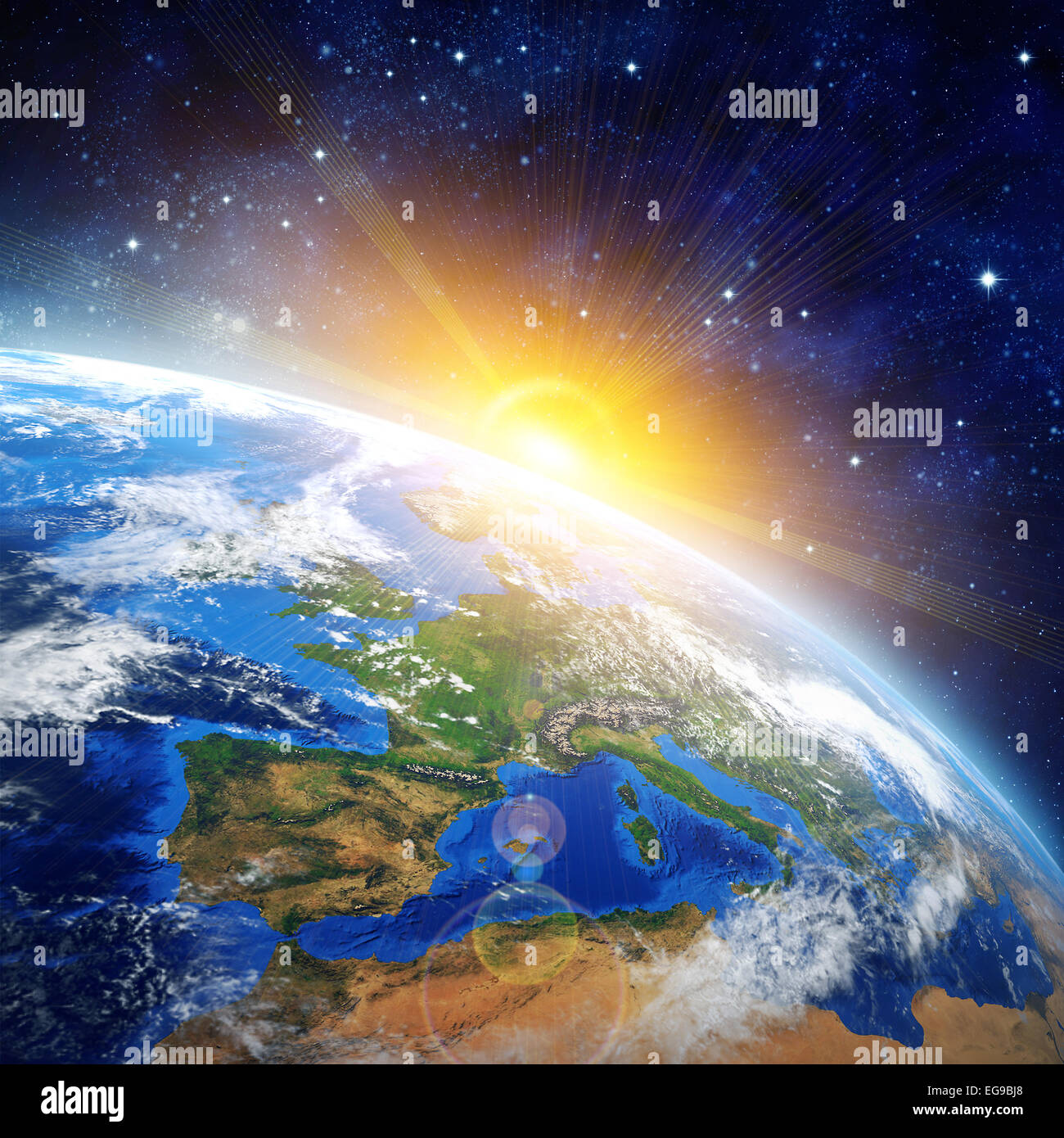 Sun From Space: Sunrise Over The Earth. Imaginary View Of Planet Earth In