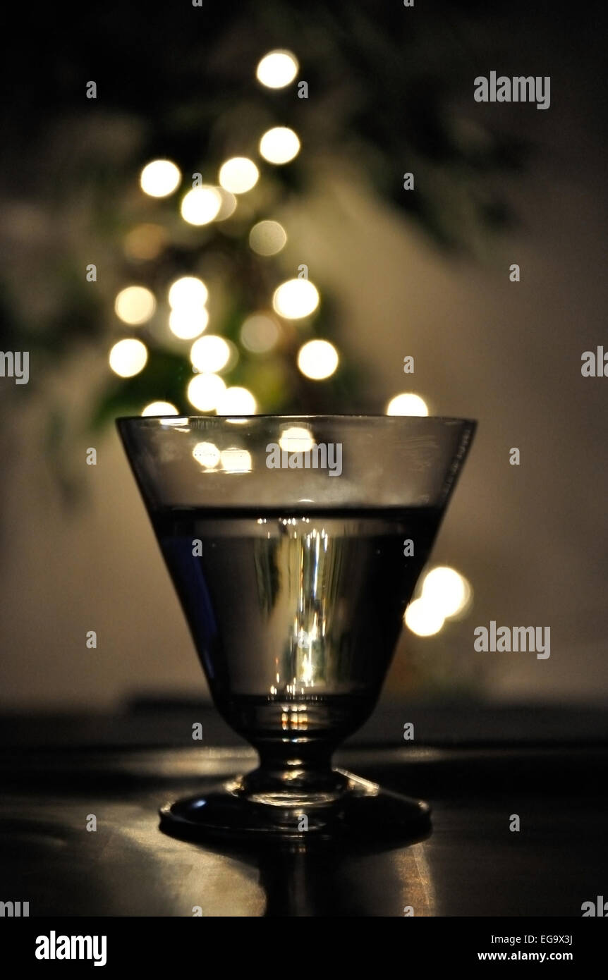 light drink abstract in crystal glass background stock photo