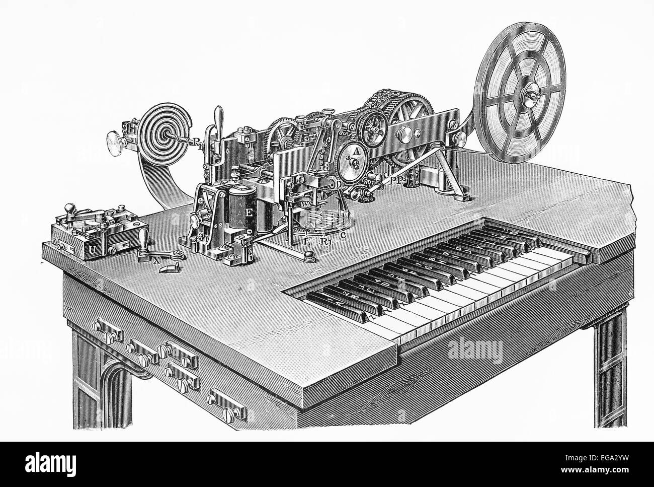 Vintage 19th century drawing of a Hughes Morse code ...  Vintage 19th ce...