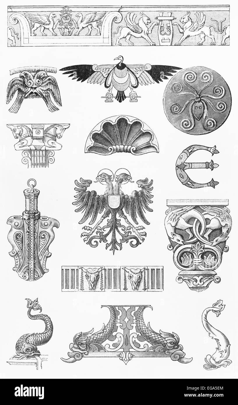Animal ornaments - Stock Photo Vintage 19th Century Drawing Of Animal Style Ornaments