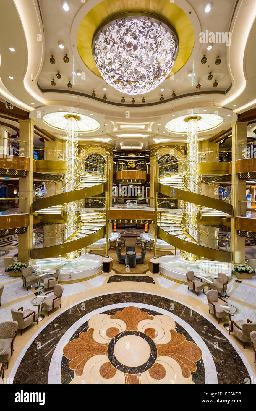 Interior decor in the atrium of the luxury cruise ship for Atrium design and decoration