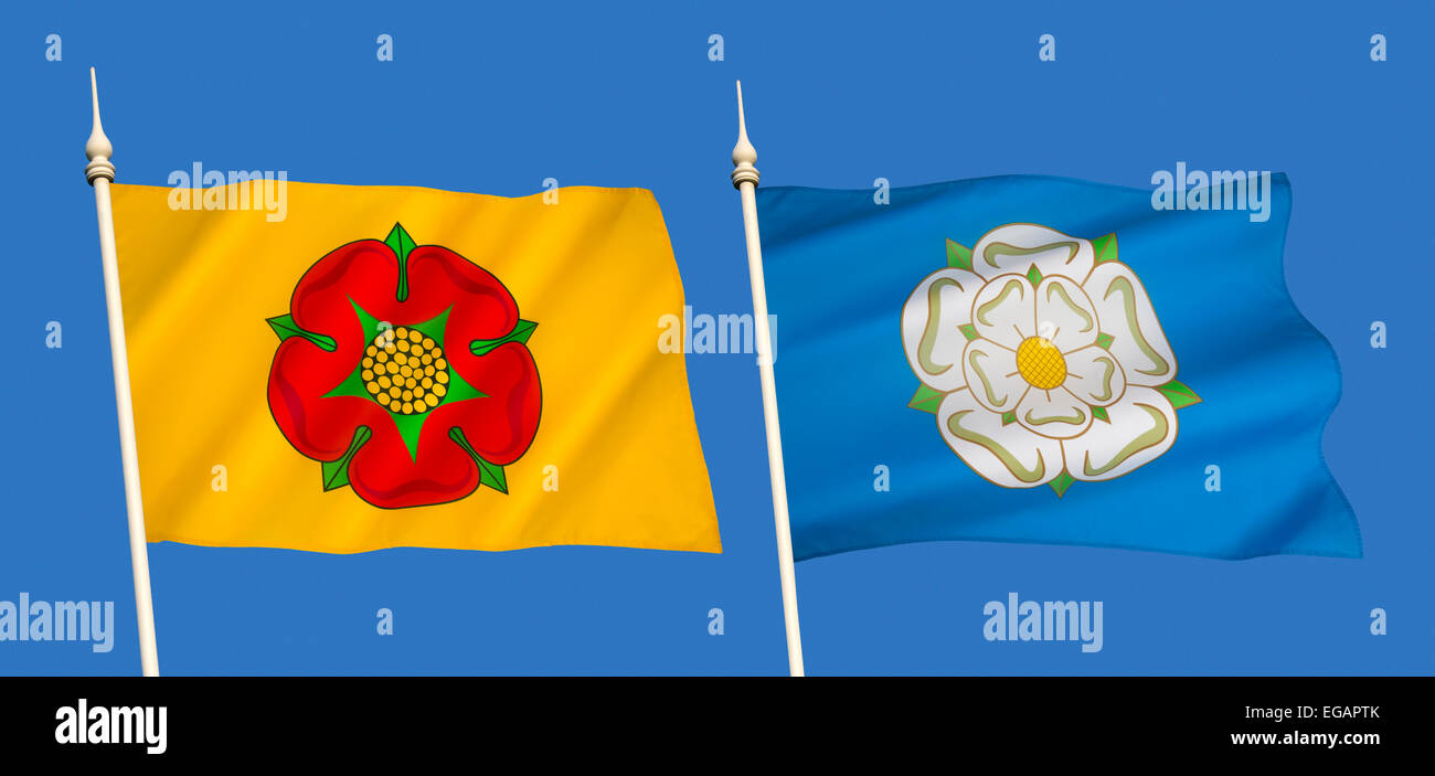 Flag gallery british county flags - Stock Photo The English County Flags Of Lancashire And Yorkshire With The Red Rose Of Lancashire And The White Rose Of Yorkshire