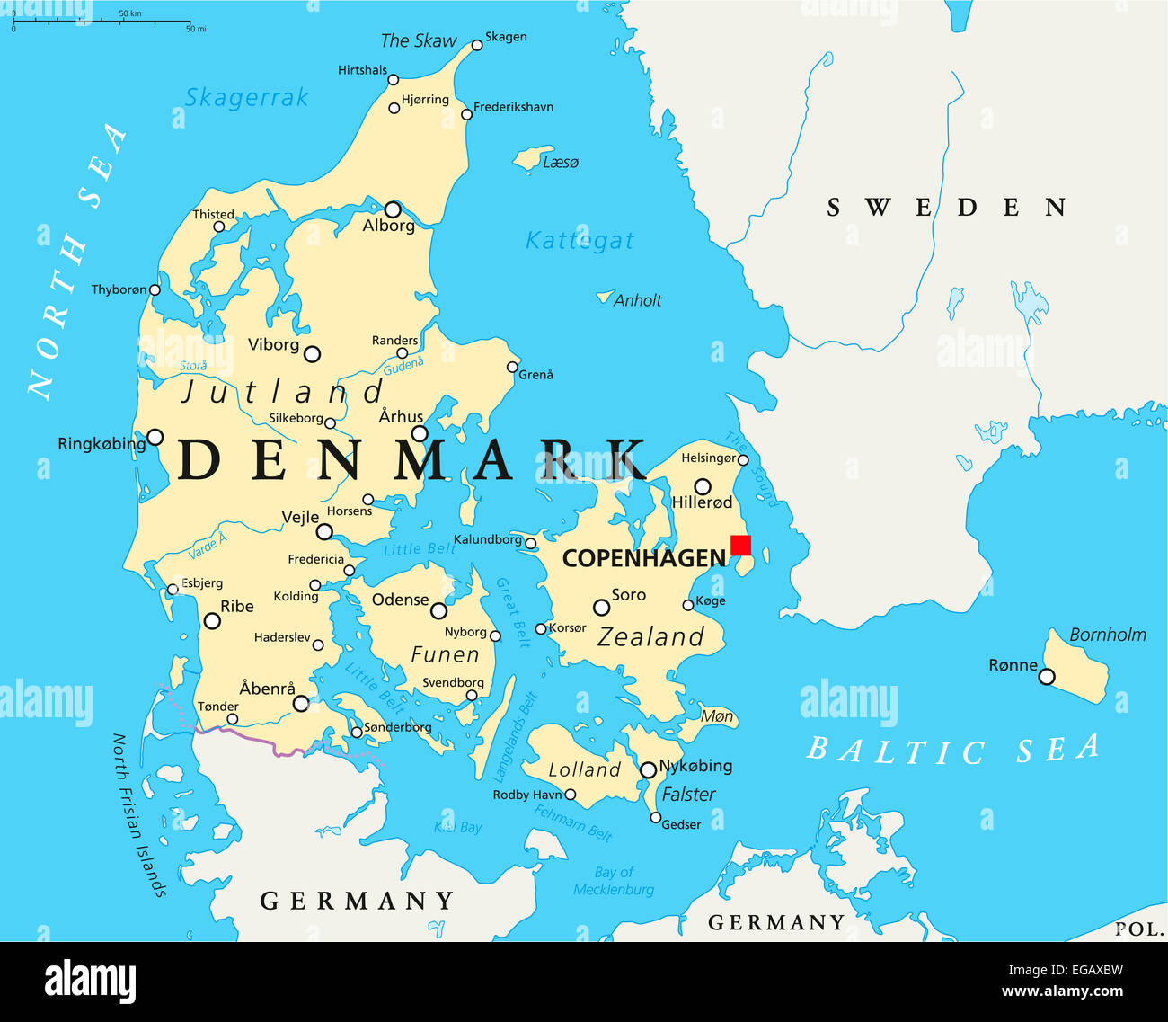 Denmark Political Map With Capital Copenhagen National Borders Stock Photo Royalty Free Image