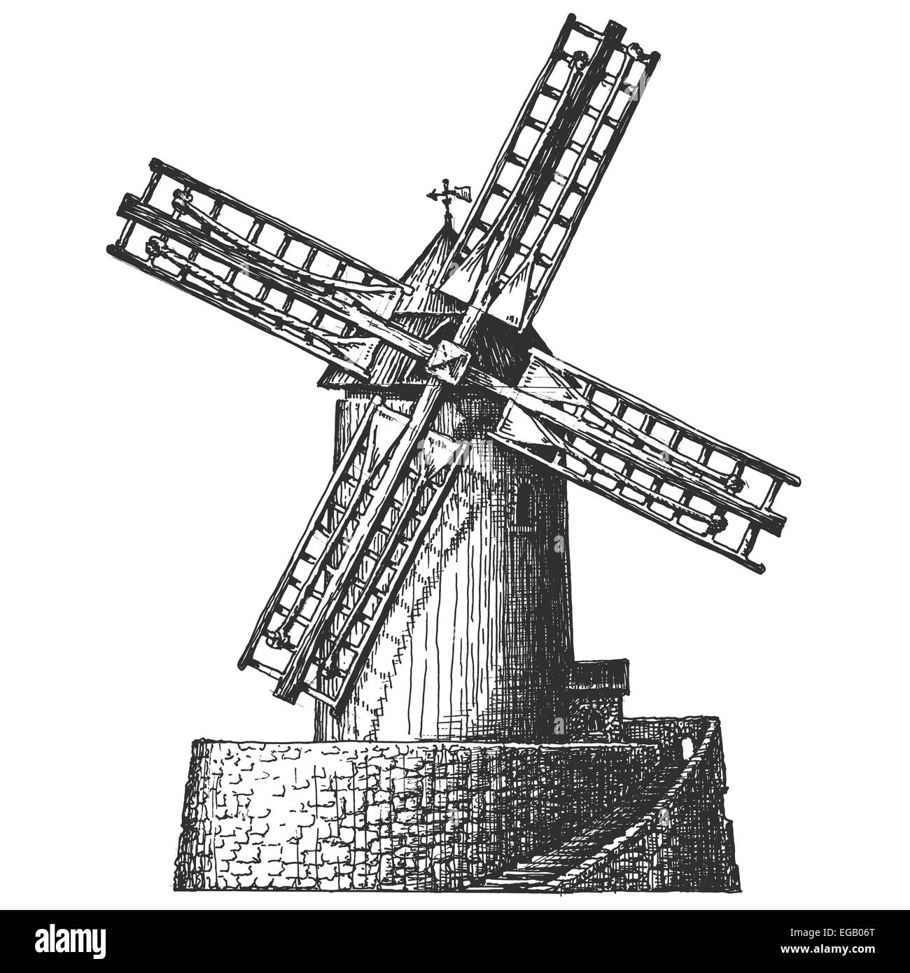 sketch Old windmill on a white background vector illustration
