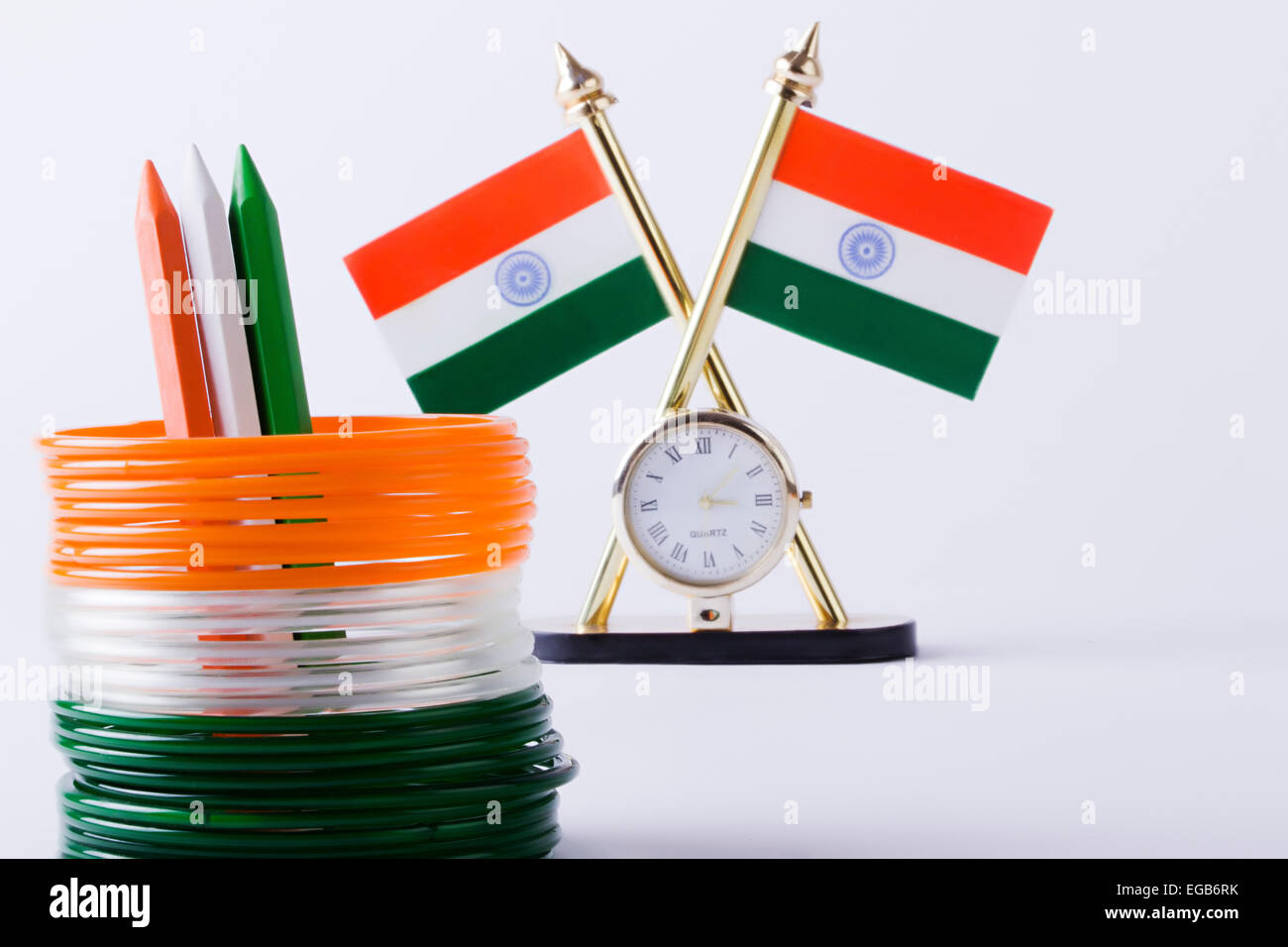Flag Color Clock and Bangles Stand Arranging Pencil Stock Photo ...