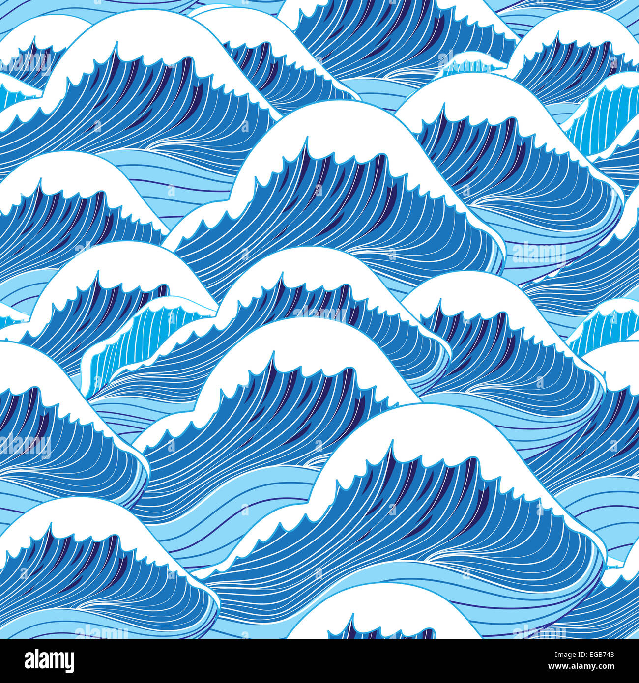graphic pattern blue sea waves vector illustration Stock ...