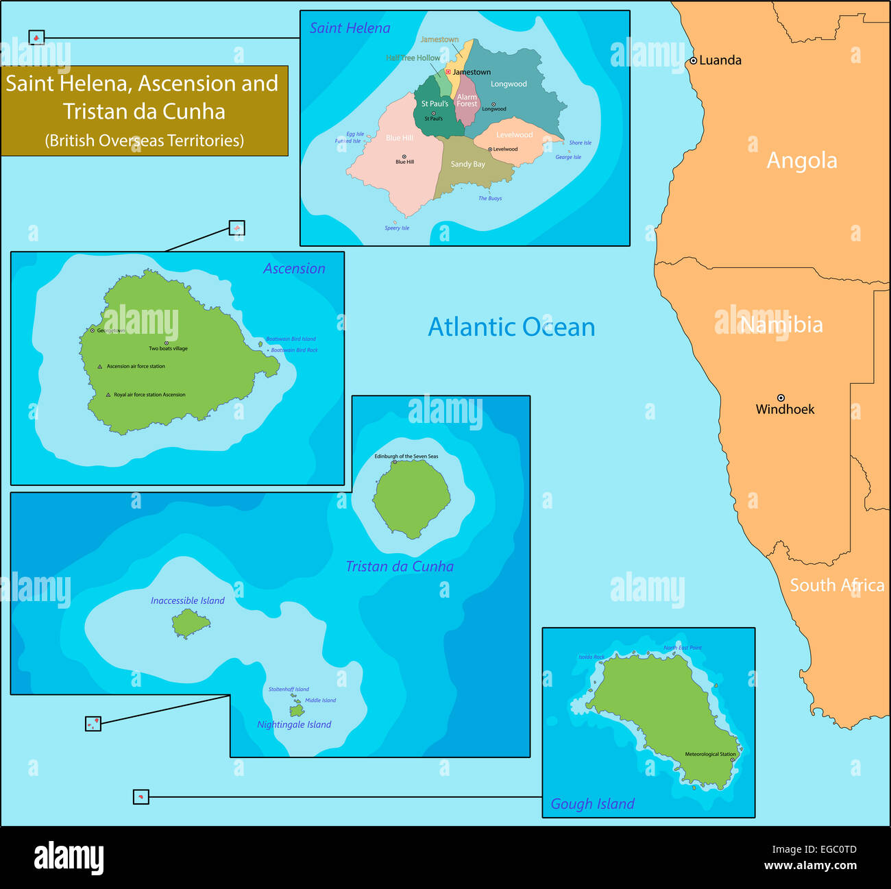 Saint Helena Ascension and Tristan da Cunha map Stock Photo