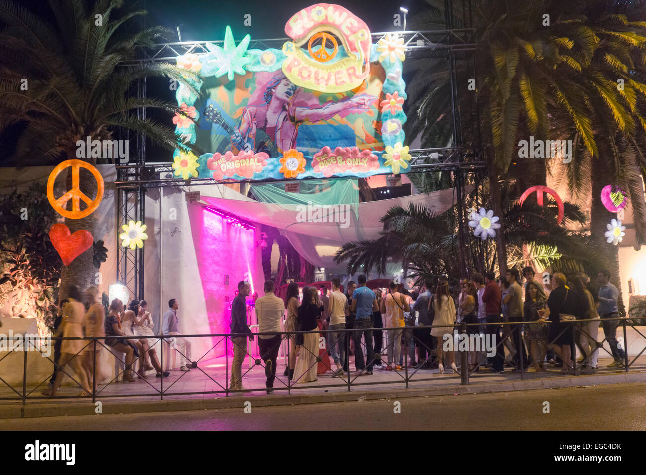 Top Flower Power Party , Pacha Club, Ibiza Town, Spain Stock Photo  US72