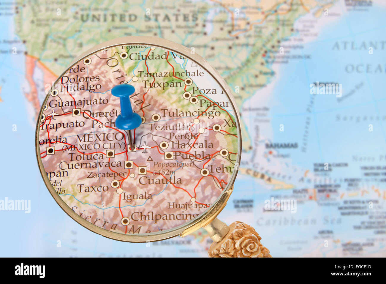 Blue Tack On Map Of North America With Magnifying Glass Looking In – Map of North Mexico
