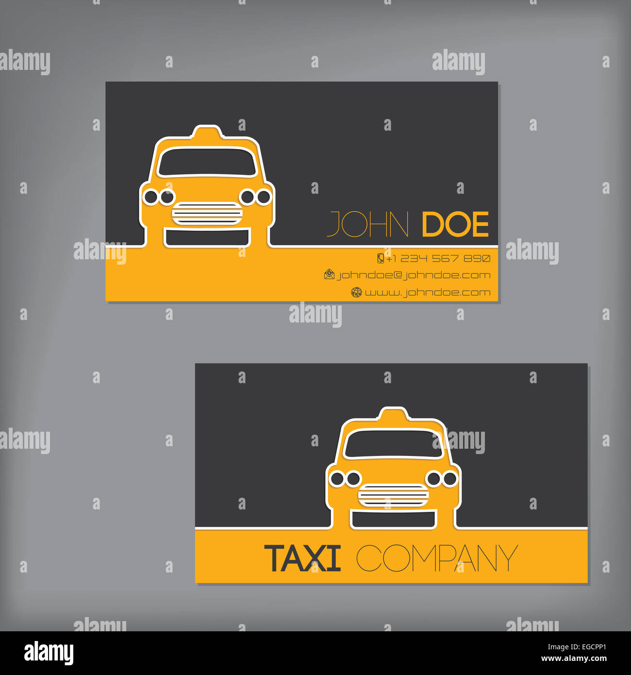 Taxi business card design with cab silhouette Stock Photo ...