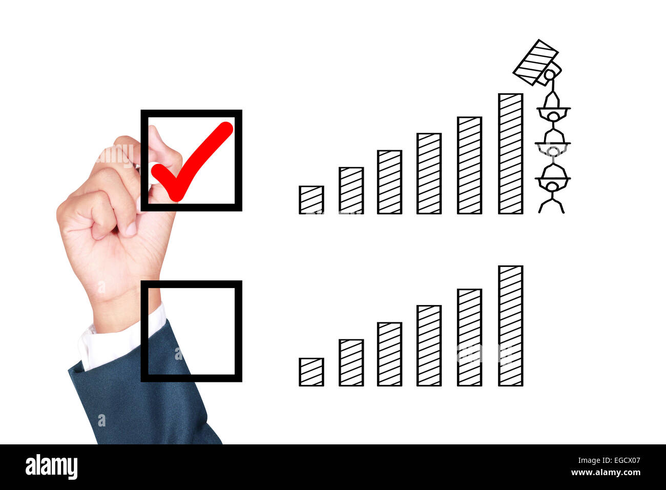motivation teamwork wish result growth better solution for success stock photo motivation teamwork wish result growth better solution for success by businessman tick box on white background