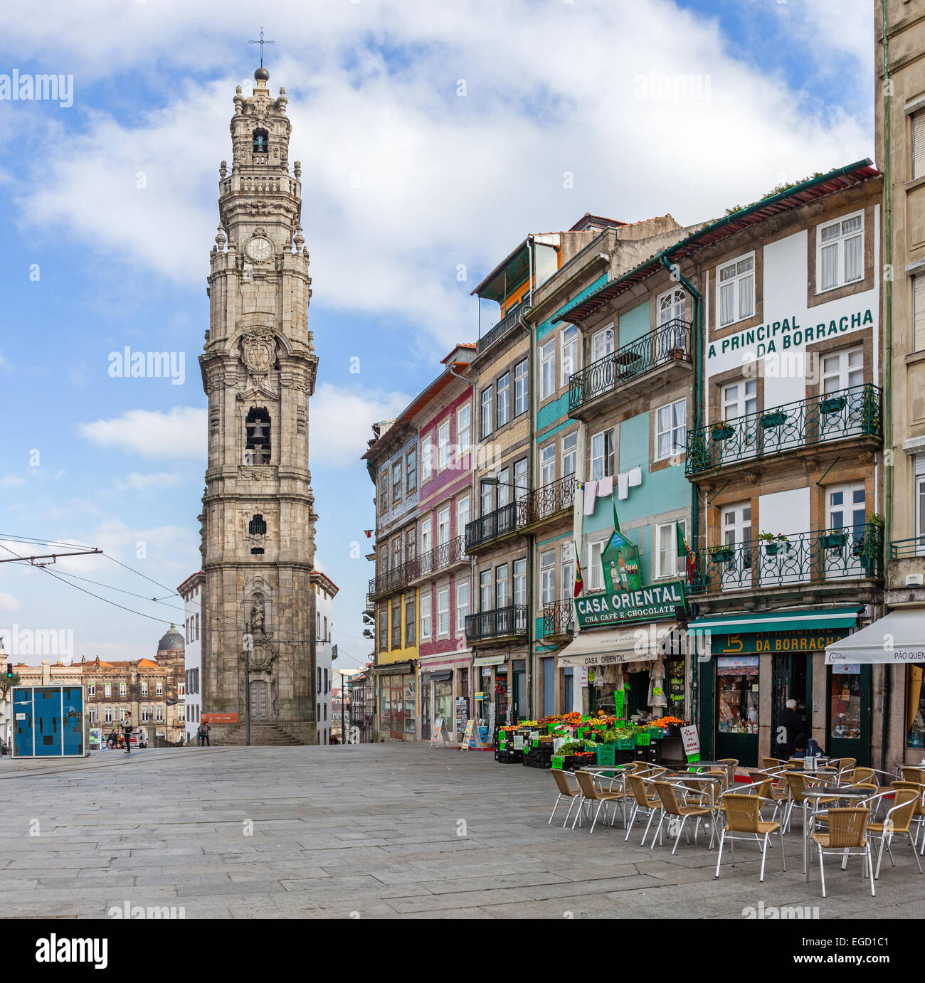 Porto, Portugal. The Iconic Clerigos Tower, One Of The Landmarks And  Symbols Of The City. Unesco World Heritage Site
