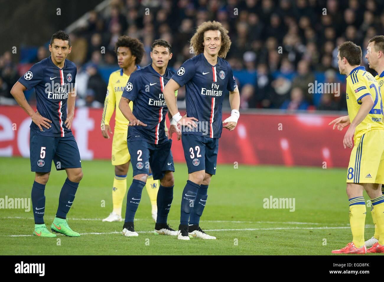 Marquinhos Thiago Silva David Luiz 17 02 2015 Paris Saint