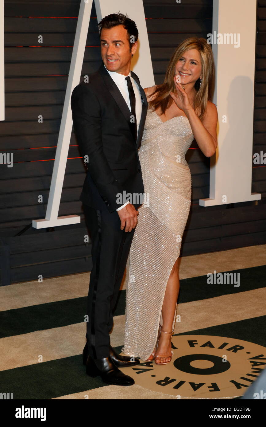 Actress Jennifer Aniston And Justin Theroux Attend The Vanity Fair Oscar  Party At Wallis Annenberg Center For The Performing Arts In Beverly Hills,  ...