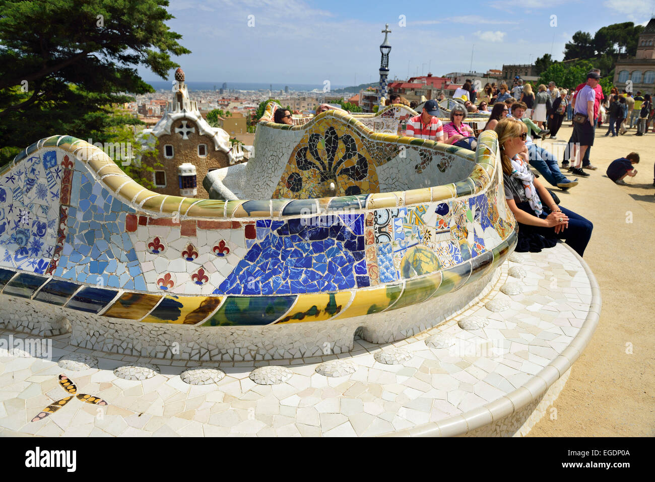 People Sitting On Mosaic Serpent Bench Park Guell Architect