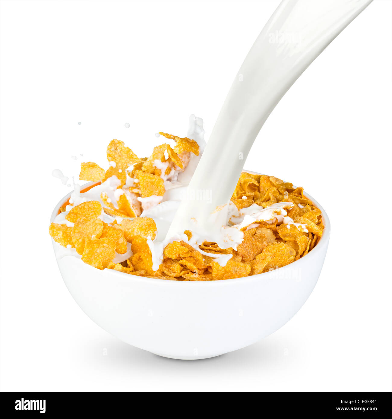 Bowl Of Cornflakes And Milk milk splashes into corn flakes