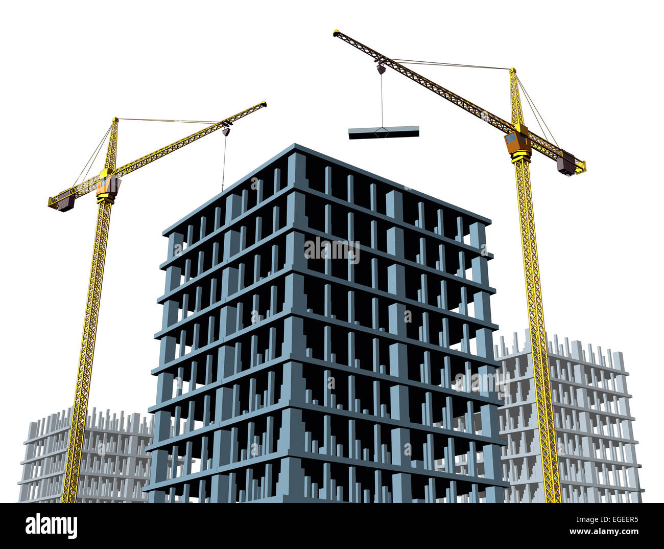 High rise contruction site with a concrete structure in for New construction building process
