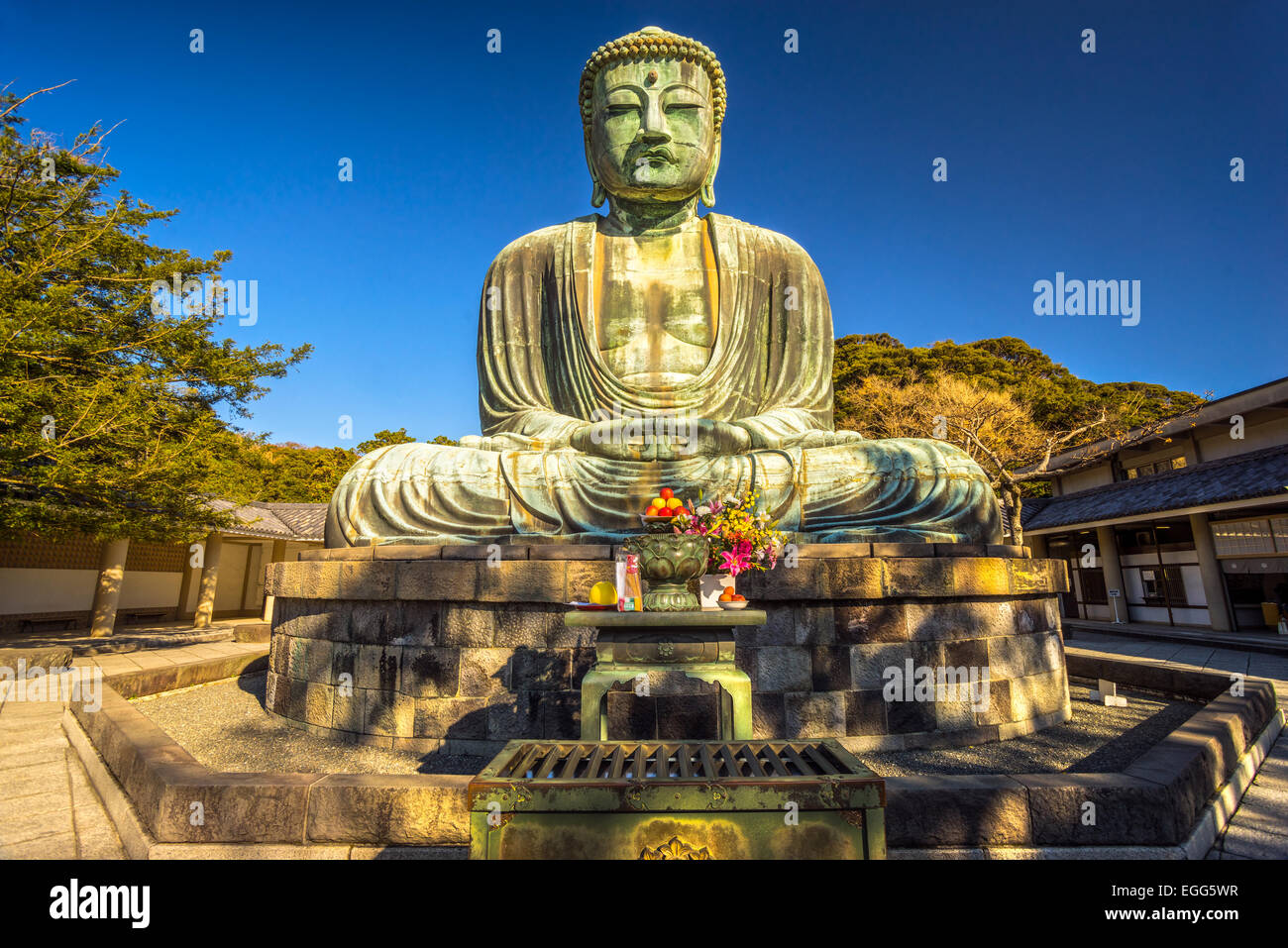 The Great Buddha (Daibutsu) on the grounds of Kotokuin Temple in ...