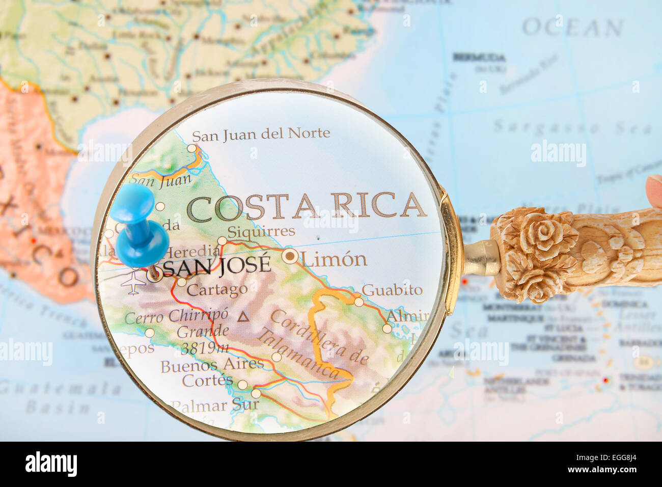 Blue Tack On Map Of Central America With Magnifying Glass Looking - Sur america map