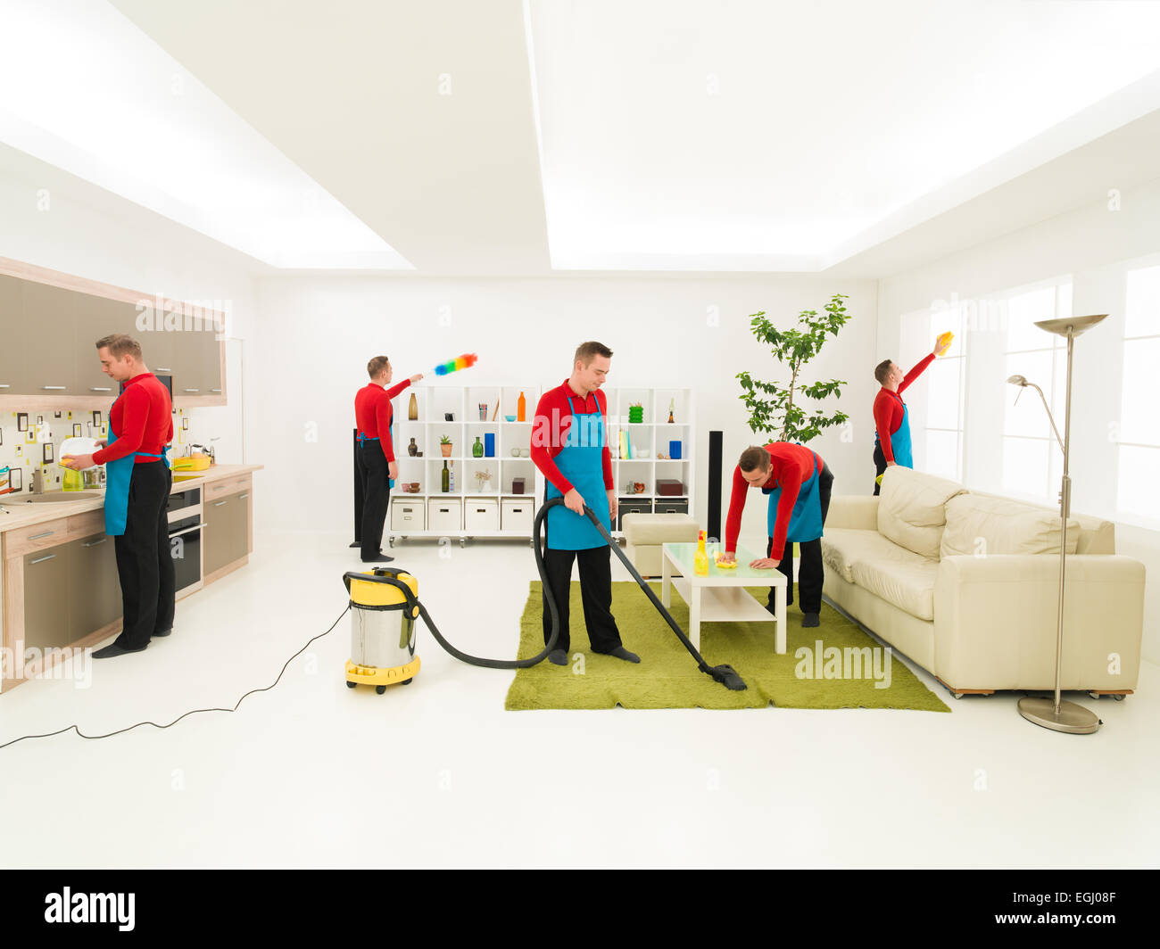 Wonderful Young Caucasian Handsome Man Cleaning Living Room In Different Places At  The Same Time, Digital Composite Image