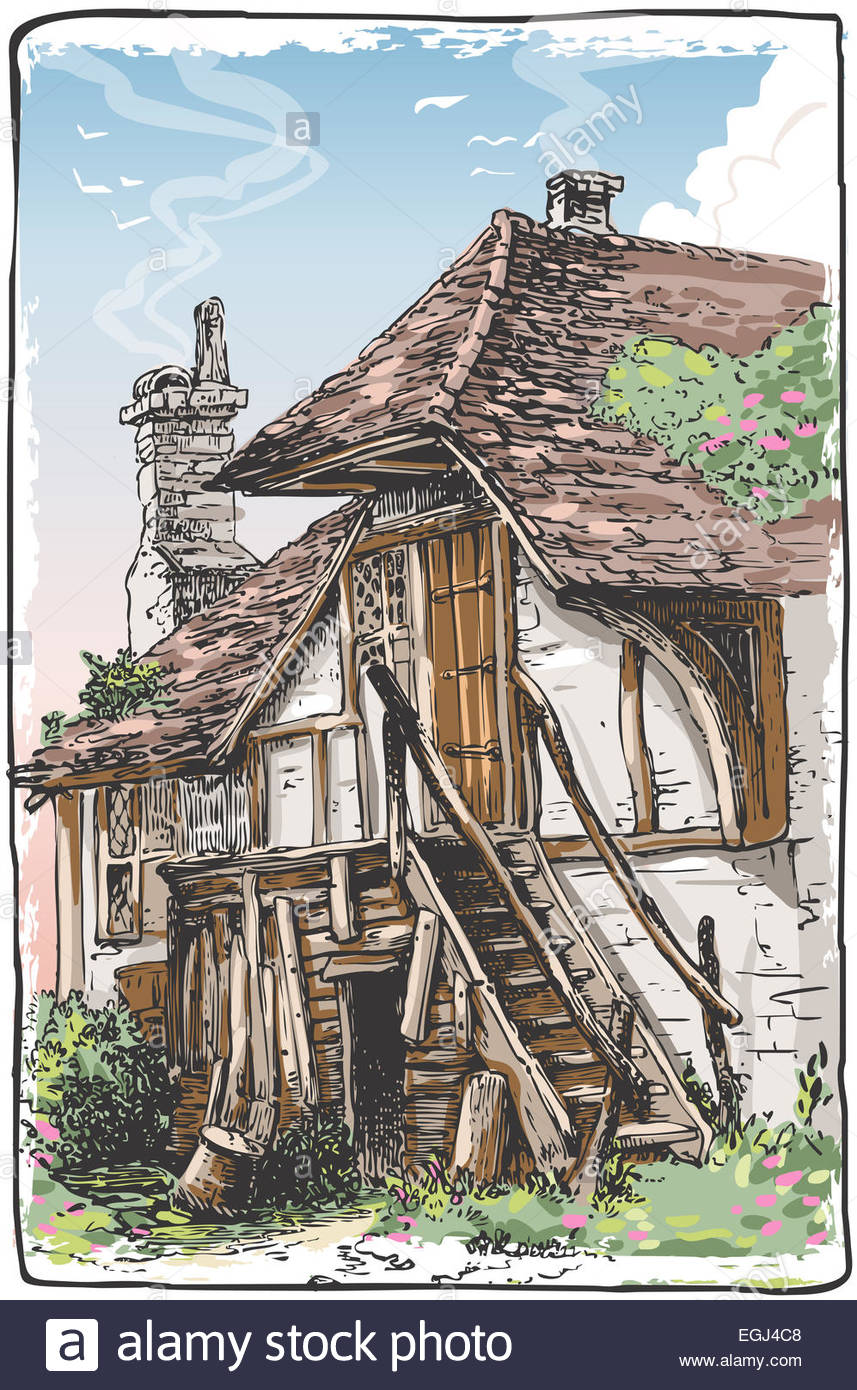 Colorful Drawing Medieval Castle On The Hill Detailed Illustration Of A Vintage View Fable House This Is Saved In EPS10 With