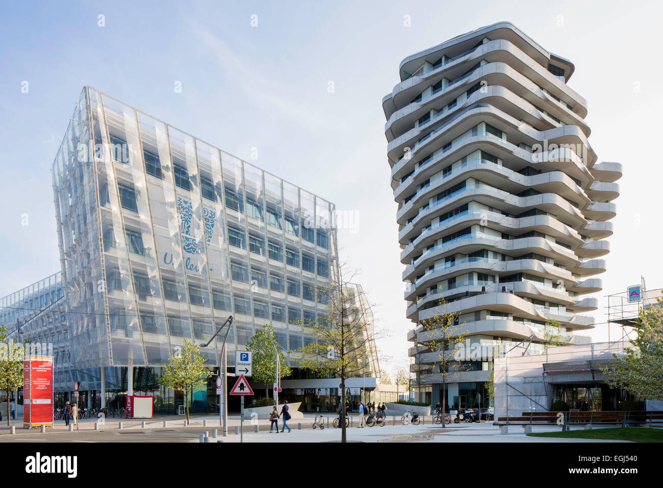 unilever haus office building and residential marco polo tower stock photo royalty free image. Black Bedroom Furniture Sets. Home Design Ideas