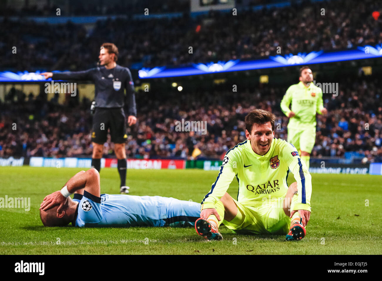 Manchester UK 24th Feb 2015 Lionel Messi Barcelona Pablo