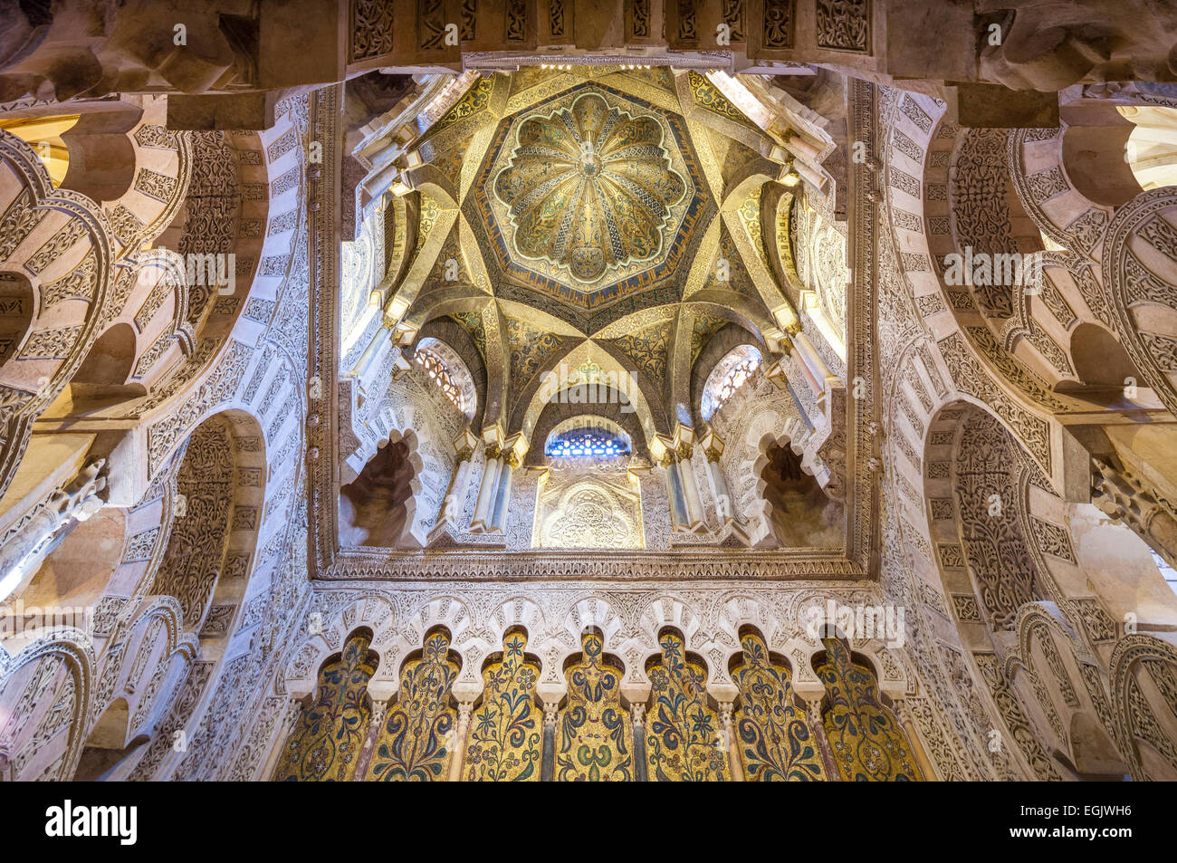 Cordoba spain great mosque interior ceiling of the cupola for Interior mezquita de cordoba