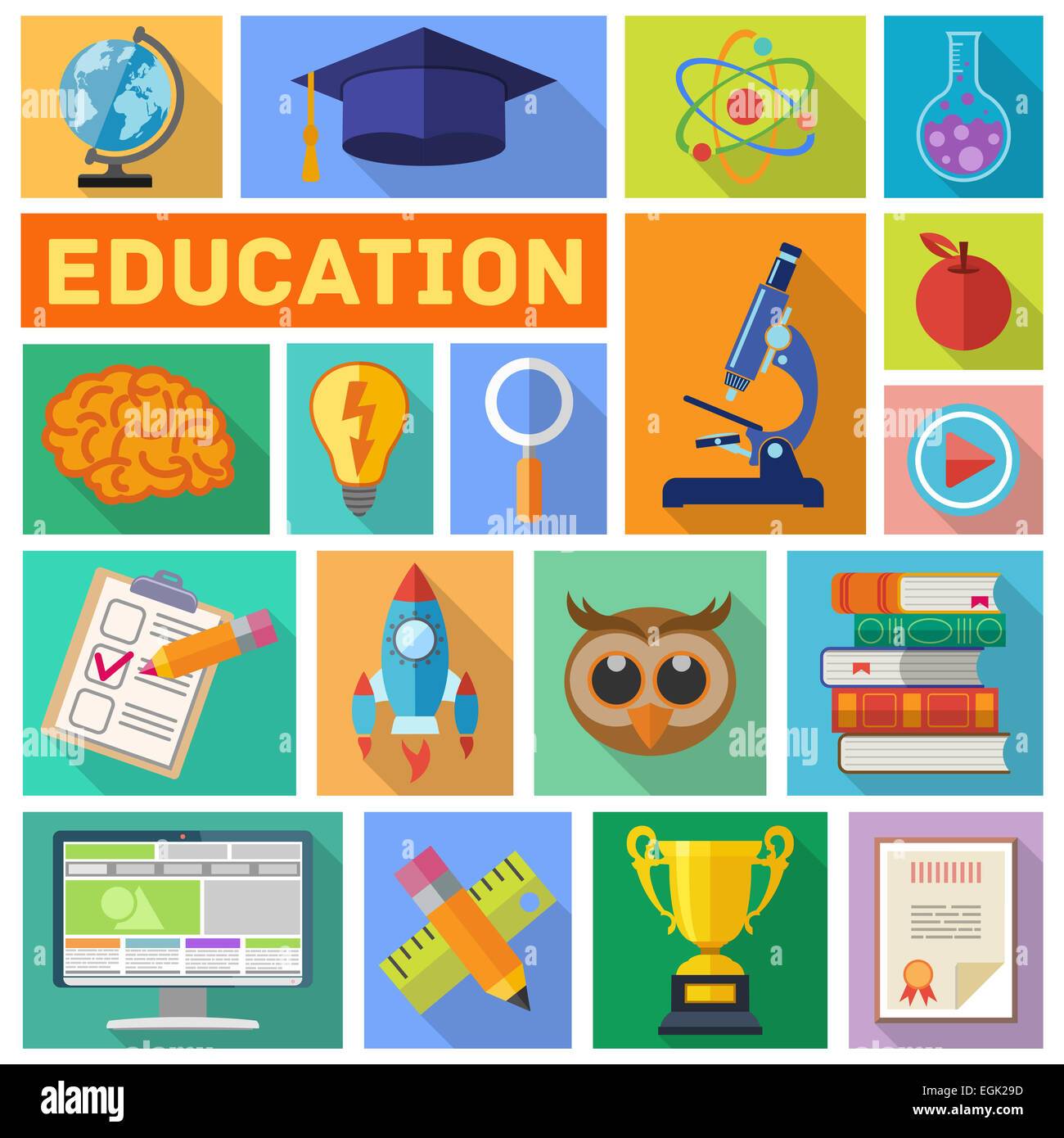 E learning poster designs - Online Education And E Learning Flat Icon Set For Flyer Poster Web Site With Long Shadow Illustration