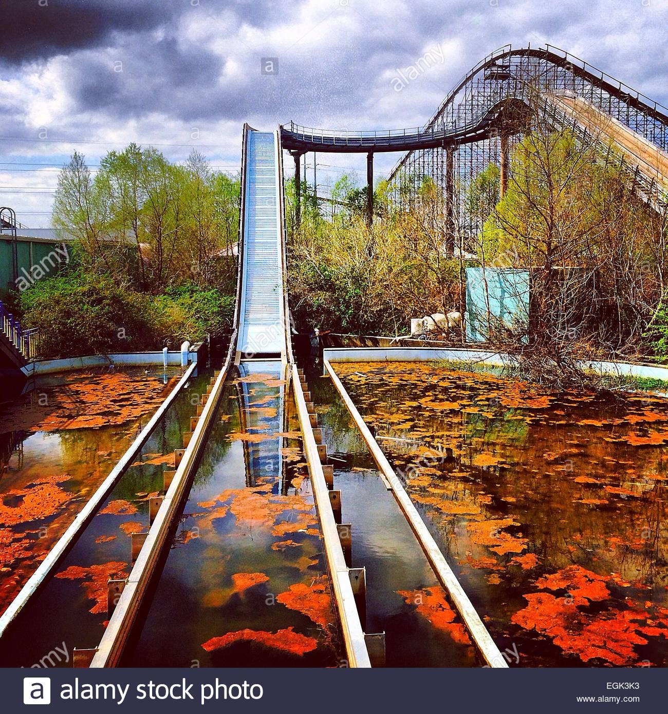 Abandoned Roller Coaster Stock Photo, Royalty Free Image