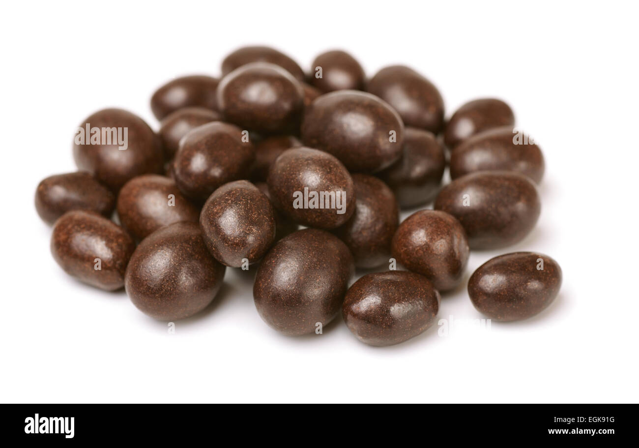 Chocolate covered peanuts isolated on white Stock Photo, Royalty ...