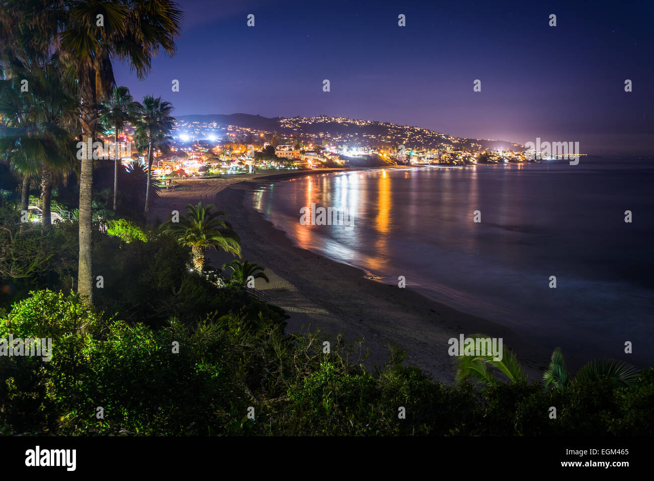 View Of Laguna Beach At Night From Heisler Park In California