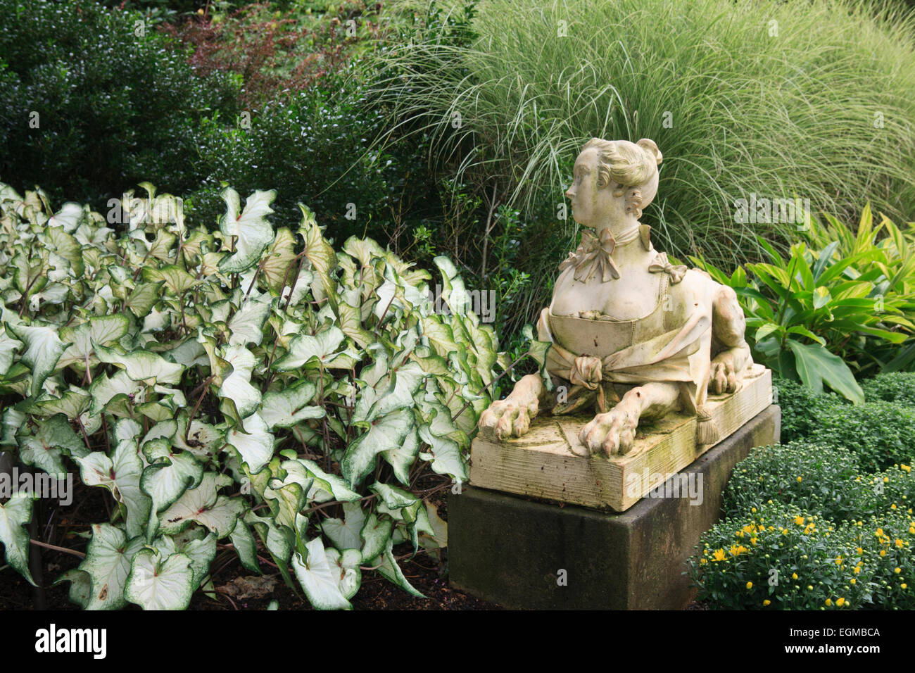 Stock Photo   Victorian Era Sphinx Statue In A Garden (Cheekwood Gardens,  Nashville, Tennessee